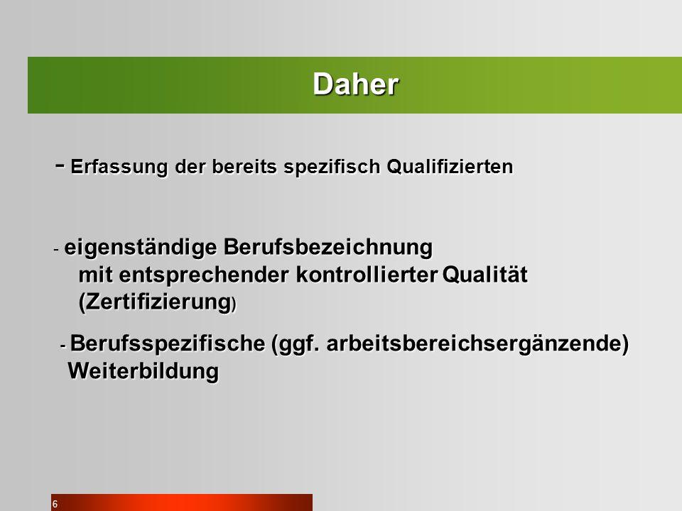 6 Daher - Erfassung der bereits spezifisch Qualifizierten eigenständige Berufsbezeichnung - eigenständige Berufsbezeichnung mit entsprechender kontrol