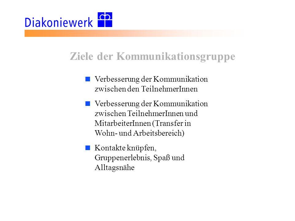 Ziele der Kommunikationsgruppe Verbesserung der Kommunikation zwischen den TeilnehmerInnen Verbesserung der Kommunikation zwischen TeilnehmerInnen und