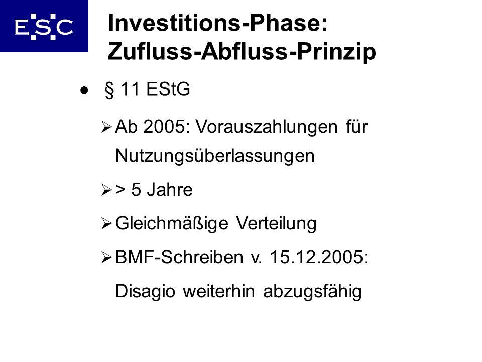 10 Investitions-Phase: Zufluss-Abfluss-Prinzip l § 11 EStG Ab 2005: Vorauszahlungen für Nutzungsüberlassungen > 5 Jahre Gleichmäßige Verteilung BMF-Sc