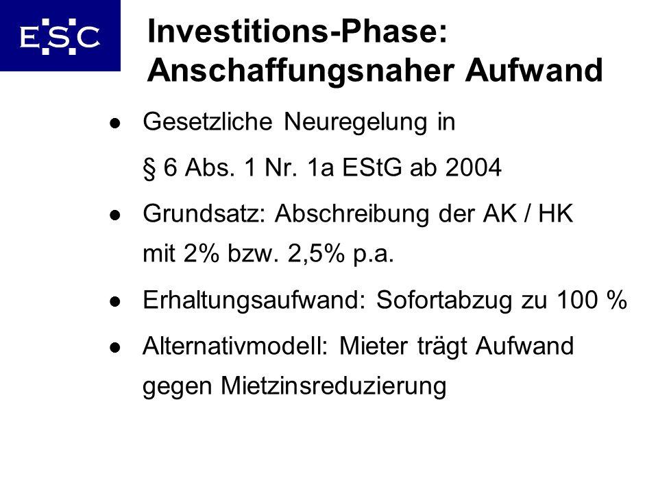 12 Investitions-Phase: Anschaffungsnaher Aufwand l Gesetzliche Neuregelung in § 6 Abs. 1 Nr. 1a EStG ab 2004 l Grundsatz: Abschreibung der AK / HK mit