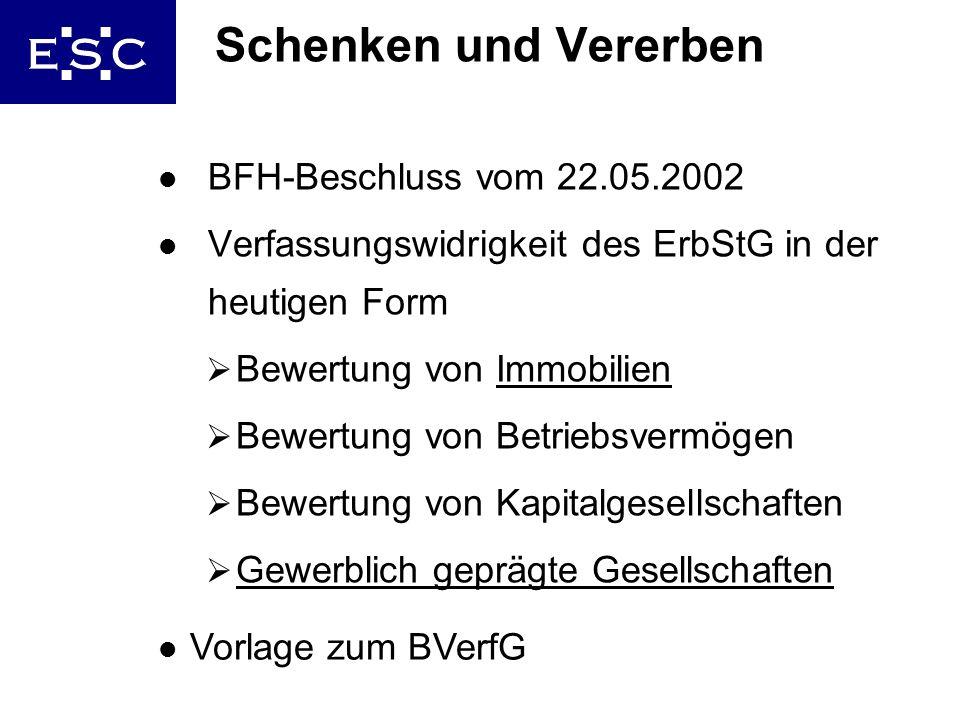 29 Schenken und Vererben l BFH-Beschluss vom 22.05.2002 l Verfassungswidrigkeit des ErbStG in der heutigen Form Bewertung von Immobilien Bewertung von