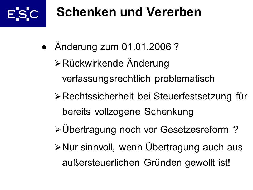 32 Schenken und Vererben l Änderung zum 01.01.2006 ? Rückwirkende Änderung verfassungsrechtlich problematisch Rechtssicherheit bei Steuerfestsetzung f