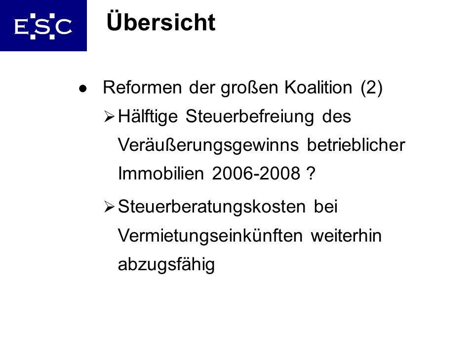 5 Übersicht l Reformen der großen Koalition (2) Hälftige Steuerbefreiung des Veräußerungsgewinns betrieblicher Immobilien 2006-2008 ? Steuerberatungsk