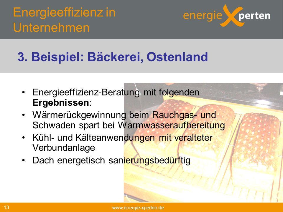 Energieeffizienz in Unternehmen Energieeffizienz-Beratung mit folgenden Ergebnissen: Wärmerückgewinnung beim Rauchgas- und Schwaden spart bei Warmwass