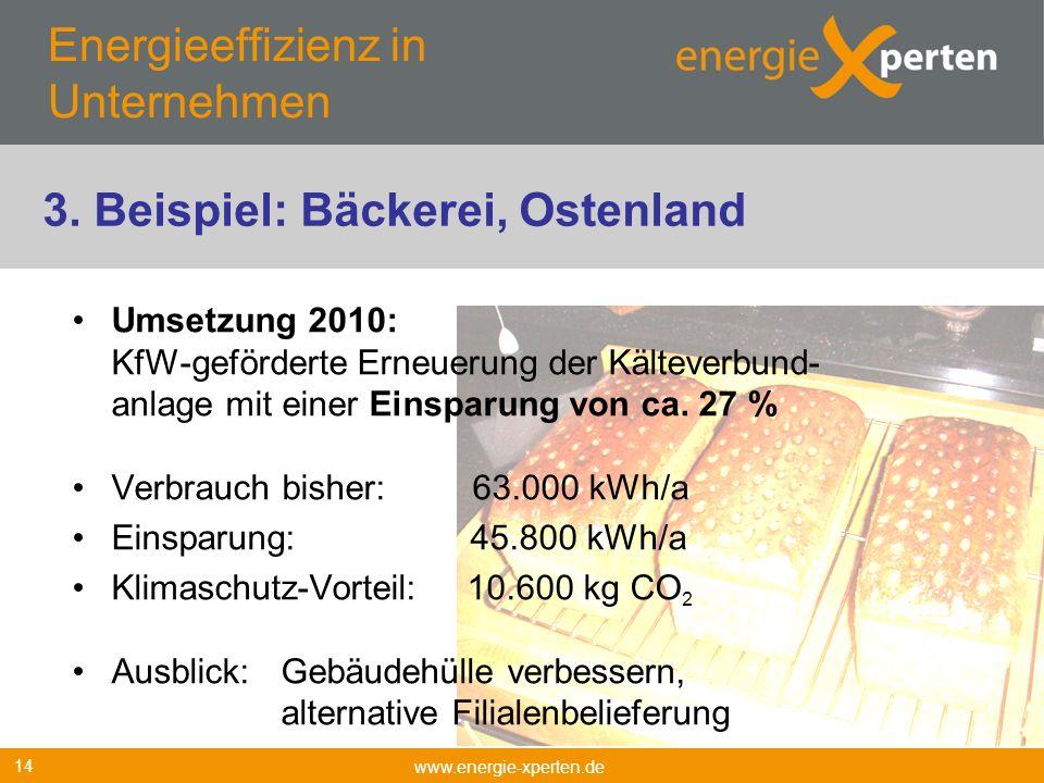 Energieeffizienz in Unternehmen Umsetzung 2010: KfW-geförderte Erneuerung der Kälteverbund- anlage mit einer Einsparung von ca. 27 % Verbrauch bisher: