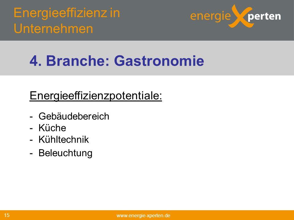 Energieeffizienz in Unternehmen www.energie-xperten.de 15 Energieeffizienzpotentiale: - Gebäudebereich - Küche - Kühltechnik - Beleuchtung 4. Branche: