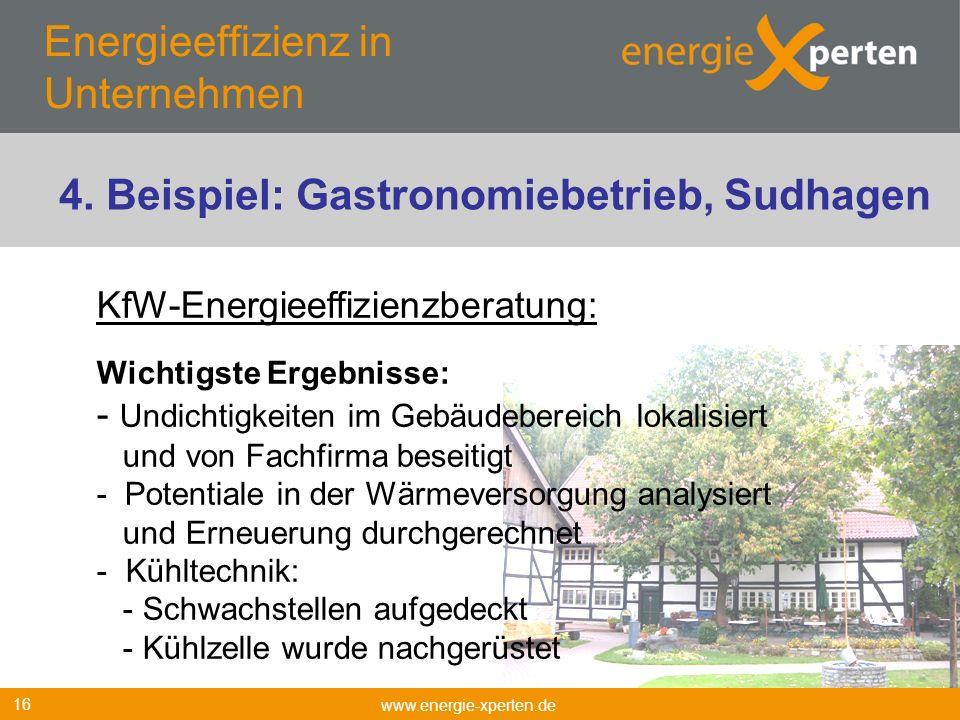 Energieeffizienz in Unternehmen www.energie-xperten.de 16 KfW-Energieeffizienzberatung: Wichtigste Ergebnisse: - Undichtigkeiten im Gebäudebereich lok