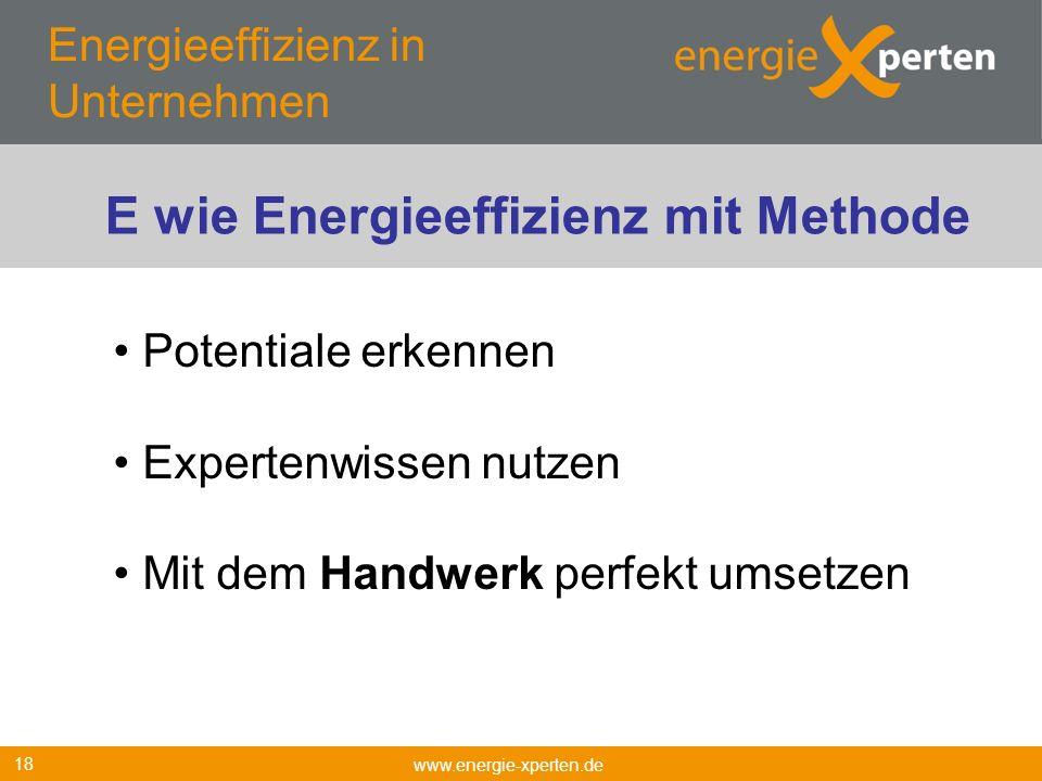 Energieeffizienz in Unternehmen www.energie-xperten.de 18 Potentiale erkennen Expertenwissen nutzen Mit dem Handwerk perfekt umsetzen E wie Energieeff