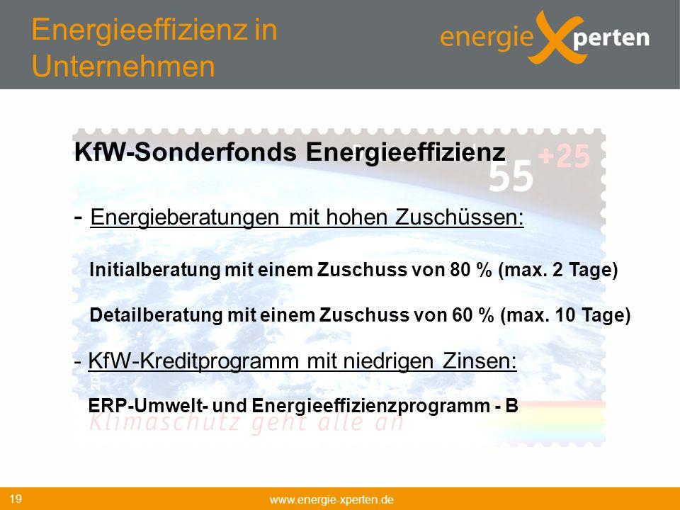 Energieeffizienz in Unternehmen www.energie-xperten.de 19 KfW-Sonderfonds Energieeffizienz - Energieberatungen mit hohen Zuschüssen: Initialberatung m