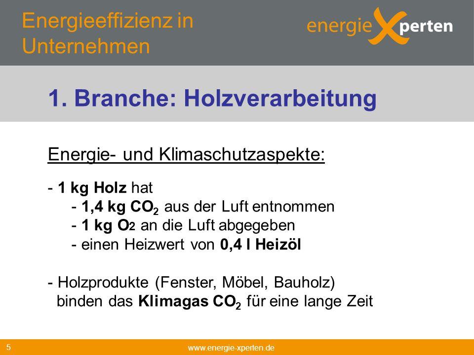 Energieeffizienz in Unternehmen www.energie-xperten.de 5 Energie- und Klimaschutzaspekte: - 1 kg Holz hat - 1,4 kg CO 2 aus der Luft entnommen - 1 kg