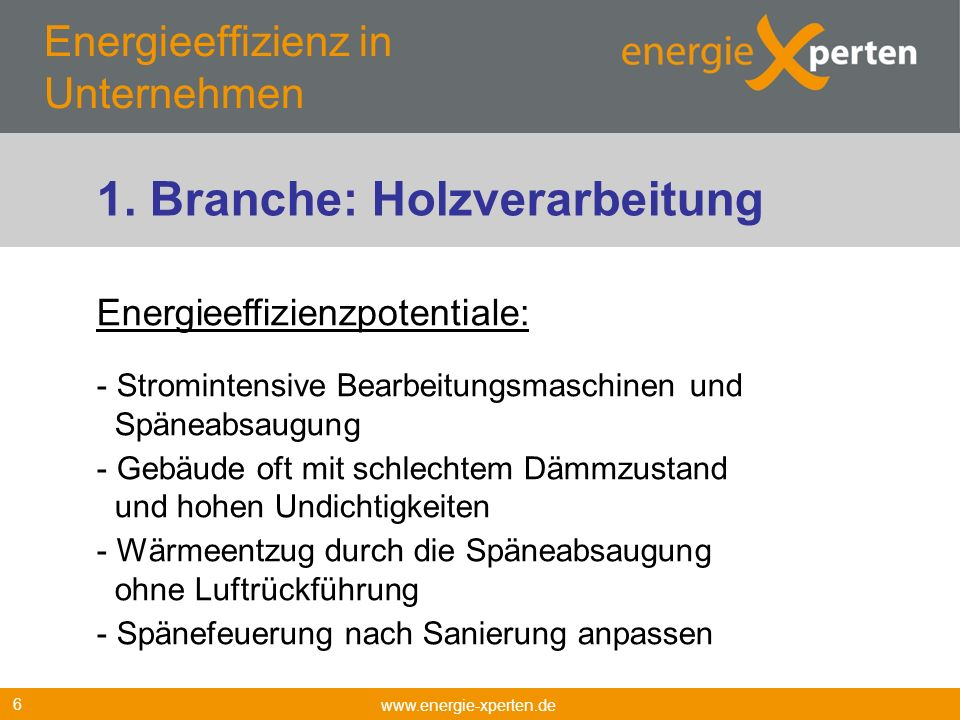 Energieeffizienz in Unternehmen www.energie-xperten.de 6 Energieeffizienzpotentiale: - Stromintensive Bearbeitungsmaschinen und Späneabsaugung - Gebäu