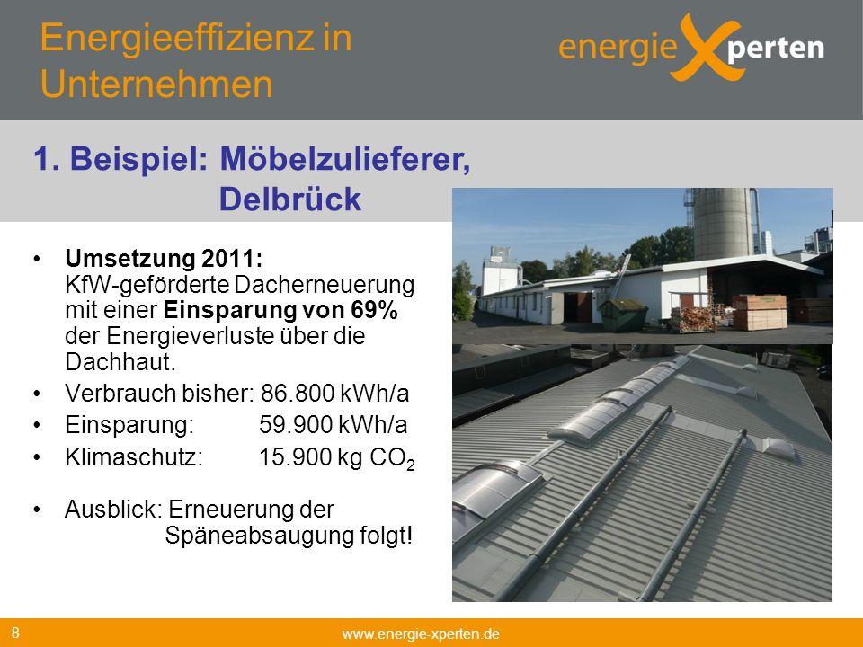 Energieeffizienz in Unternehmen Umsetzung 2011: KfW-geförderte Dacherneuerung mit einer Einsparung von 69% der Energieverluste über die Dachhaut. Verb
