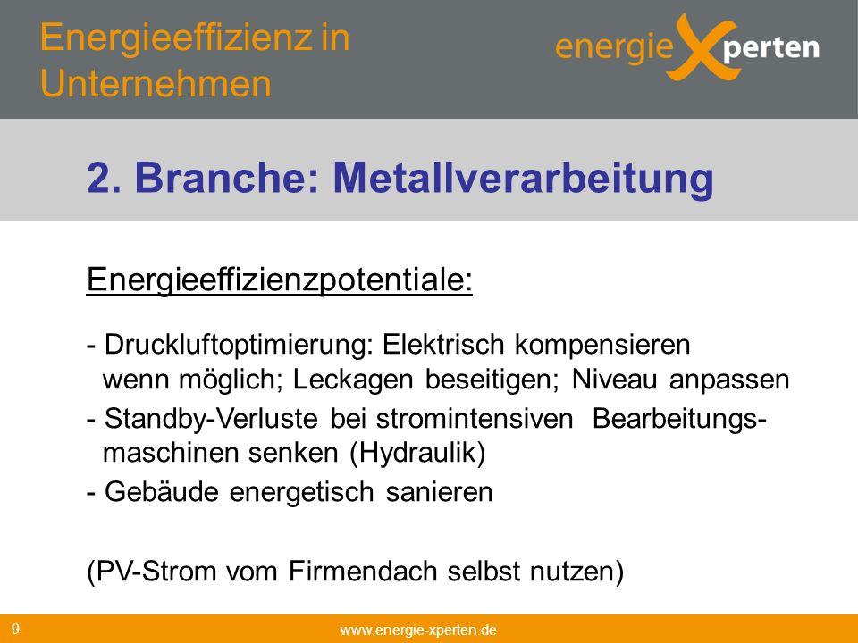 Energieeffizienz in Unternehmen www.energie-xperten.de 9 Energieeffizienzpotentiale: - Druckluftoptimierung: Elektrisch kompensieren wenn möglich; Lec
