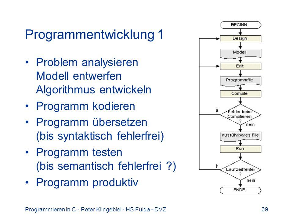 Programmieren in C - Peter Klingebiel - HS Fulda - DVZ39 Programmentwicklung 1 Problem analysieren Modell entwerfen Algorithmus entwickeln Programm ko