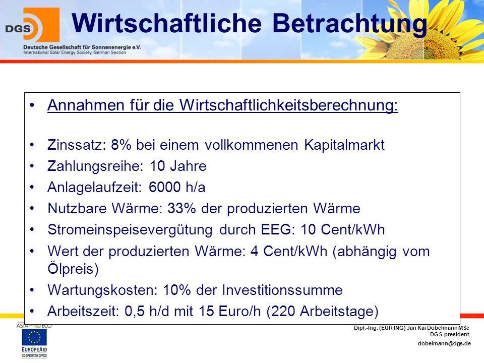 dobelmann@dgs.de Dipl.-Ing. (EUR ING) Jan Kai Dobelmann MSc DGS-president Wirtschaftliche Betrachtung Annahmen für die Wirtschaftlichkeitsberechnung: