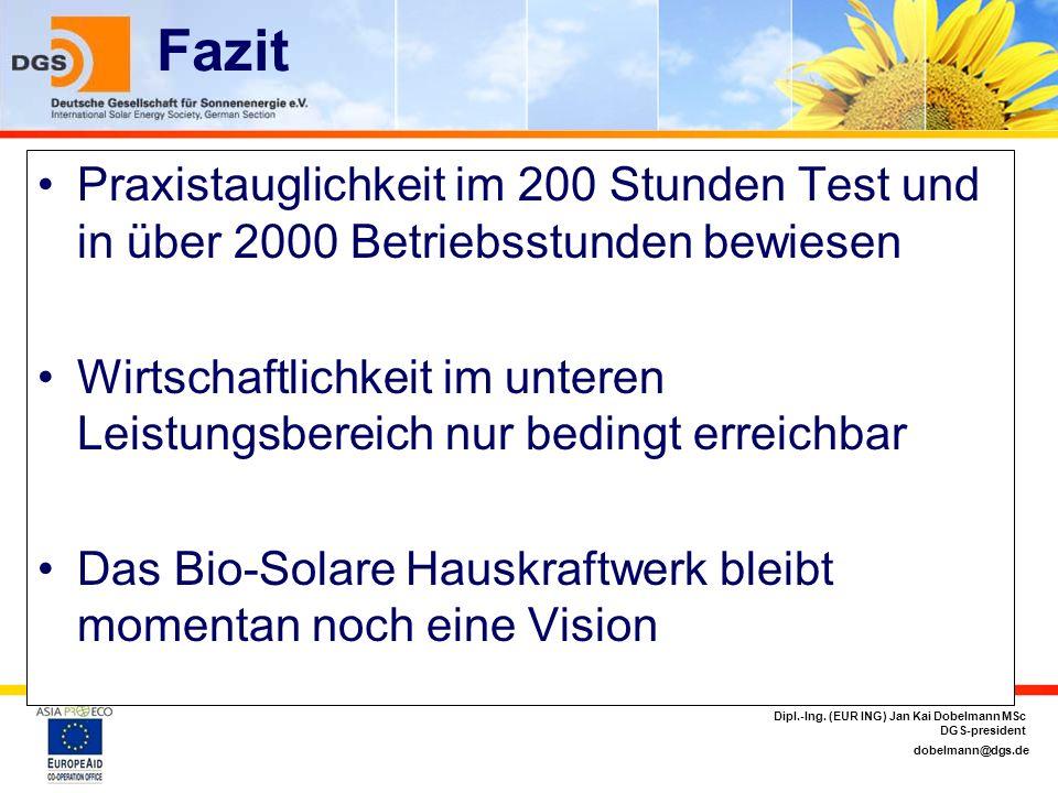 dobelmann@dgs.de Dipl.-Ing. (EUR ING) Jan Kai Dobelmann MSc DGS-president Fazit Praxistauglichkeit im 200 Stunden Test und in über 2000 Betriebsstunde