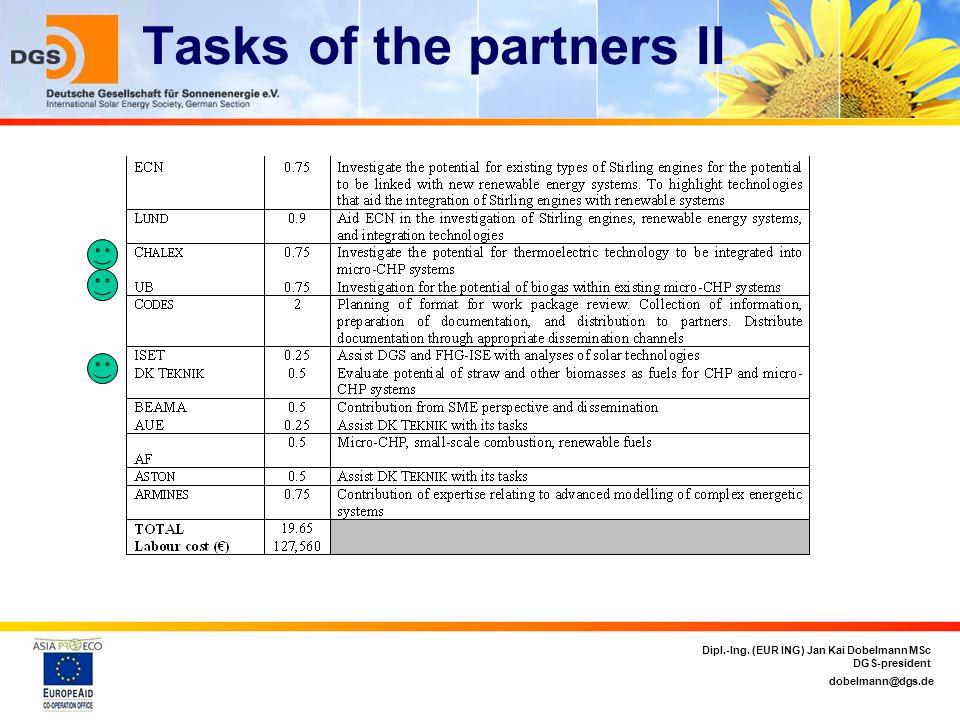 dobelmann@dgs.de Dipl.-Ing. (EUR ING) Jan Kai Dobelmann MSc DGS-president Tasks of the partners II