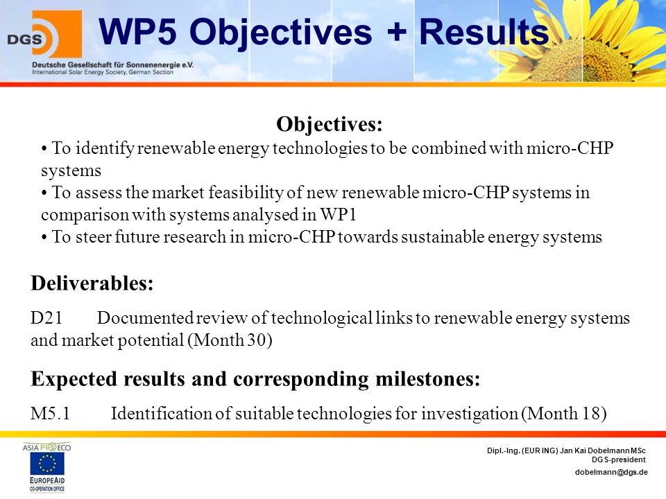 dobelmann@dgs.de Dipl.-Ing. (EUR ING) Jan Kai Dobelmann MSc DGS-president WP5 Objectives + Results Objectives: To identify renewable energy technologi
