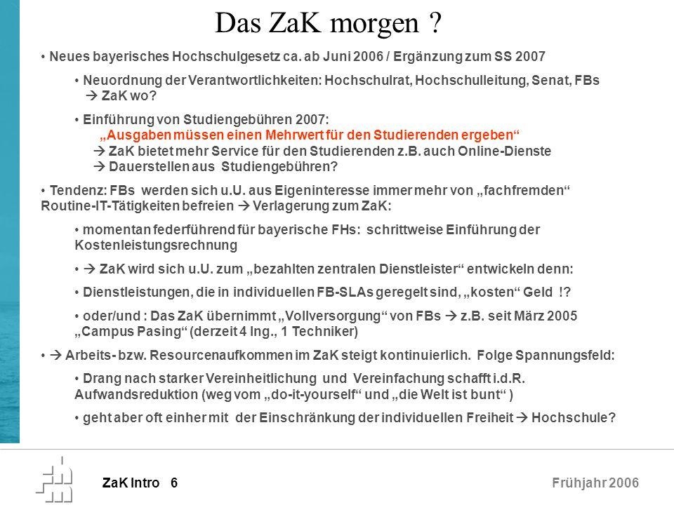 ZaK Intro 6Frühjahr 2006 Neues bayerisches Hochschulgesetz ca. ab Juni 2006 / Ergänzung zum SS 2007 Neuordnung der Verantwortlichkeiten: Hochschulrat,