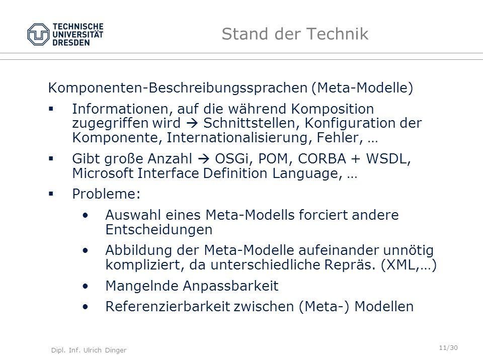 Dipl. Inf. Ulrich Dinger /30 11 Stand der Technik Komponenten-Beschreibungssprachen (Meta-Modelle) Informationen, auf die während Komposition zugegrif