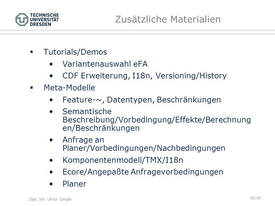 Dipl. Inf. Ulrich Dinger /30 36 Zusätzliche Materialien Tutorials/Demos Variantenauswahl eFA CDF Erweiterung, I18n, Versioning/History Meta-Modelle Fe