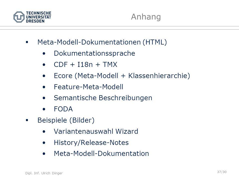 Dipl. Inf. Ulrich Dinger /30 37 Anhang Meta-Modell-Dokumentationen (HTML) Dokumentationssprache CDF + I18n + TMX Ecore (Meta-Modell + Klassenhierarchi