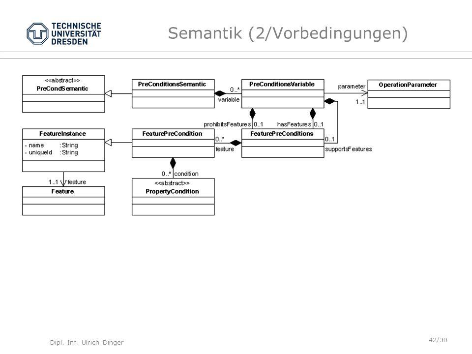 Dipl. Inf. Ulrich Dinger /30 42 Semantik (2/Vorbedingungen)