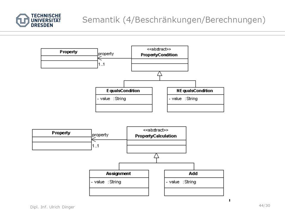 Dipl. Inf. Ulrich Dinger /30 44 Semantik (4/Beschränkungen/Berechnungen)