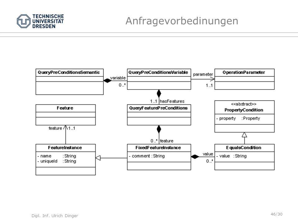 Dipl. Inf. Ulrich Dinger /30 46 Anfragevorbedinungen