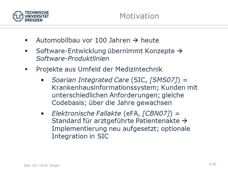 Dipl. Inf. Ulrich Dinger /30 5 Motivation Automobilbau vor 100 Jahren heute Software-Entwicklung übernimmt Konzepte Software-Produktlinien Projekte au