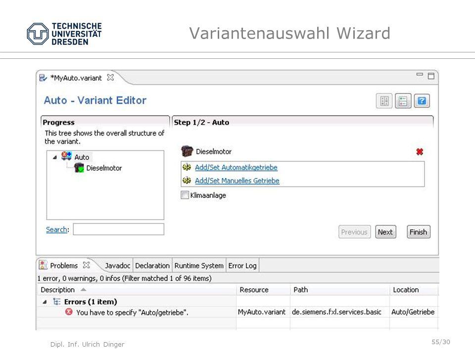 Dipl. Inf. Ulrich Dinger /30 55 Variantenauswahl Wizard