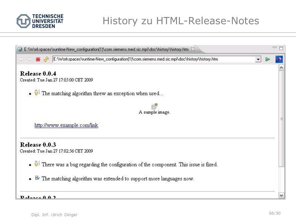 Dipl. Inf. Ulrich Dinger /30 56 History zu HTML-Release-Notes