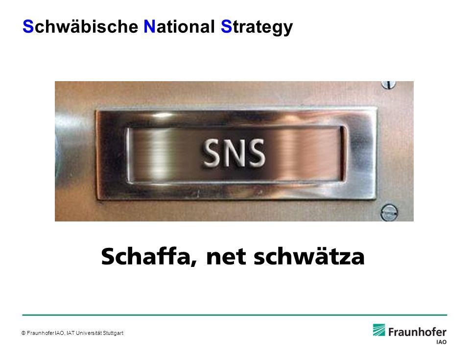 © Fraunhofer IAO, IAT Universität Stuttgart Schwäbische National Strategy Schaffa, net schwätza