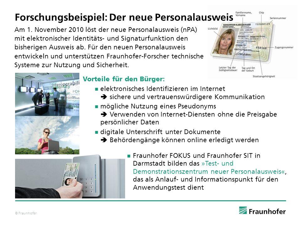© Fraunhofer Am 1. November 2010 löst der neue Personalausweis (nPA) mit elektronischer Identitäts- und Signaturfunktion den bisherigen Ausweis ab. Fü