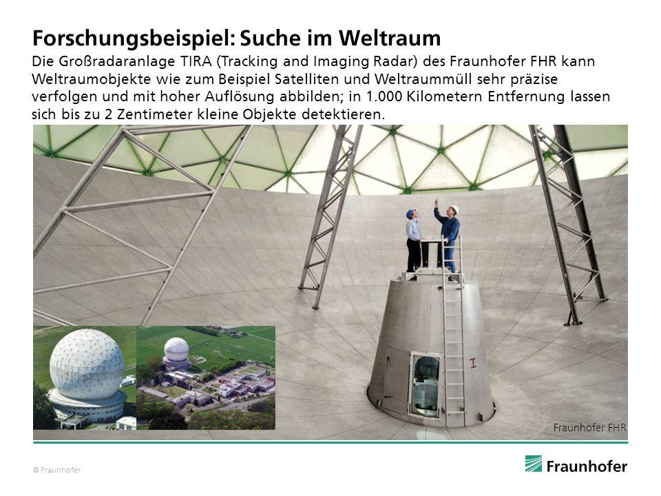 © Fraunhofer Forschungsbeispiel: Suche im Weltraum Die Großradaranlage TIRA (Tracking and Imaging Radar) des Fraunhofer FHR kann Weltraumobjekte wie z