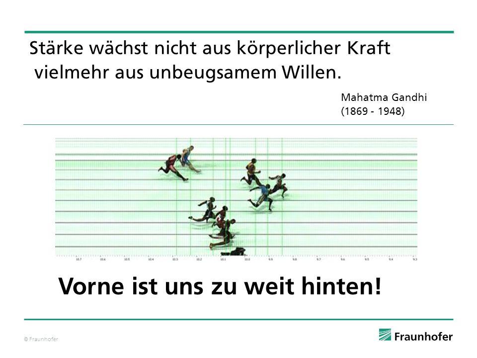 © Fraunhofer Stärke wächst nicht aus körperlicher Kraft  vielmehr aus unbeugsamem Willen. Mahatma Gandhi (1869 - 1948) Vorne ist uns zu weit hinten!