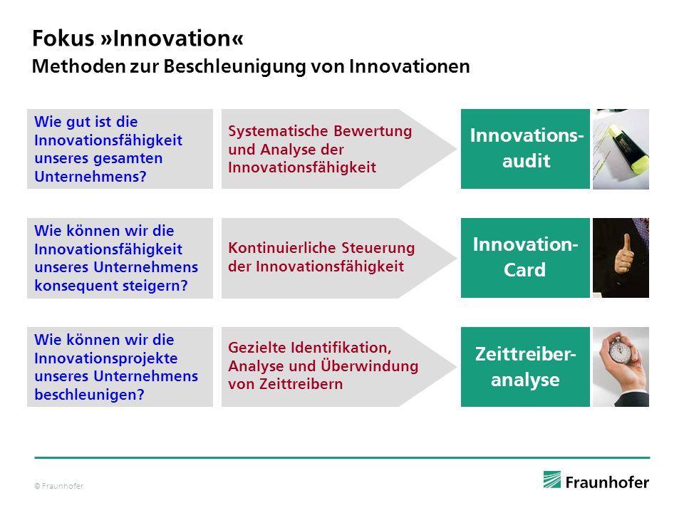 © Fraunhofer Methoden zur Beschleunigung von Innovationen Fokus »Innovation« Wie können wir die Innovationsprojekte unseres Unternehmens beschleunigen