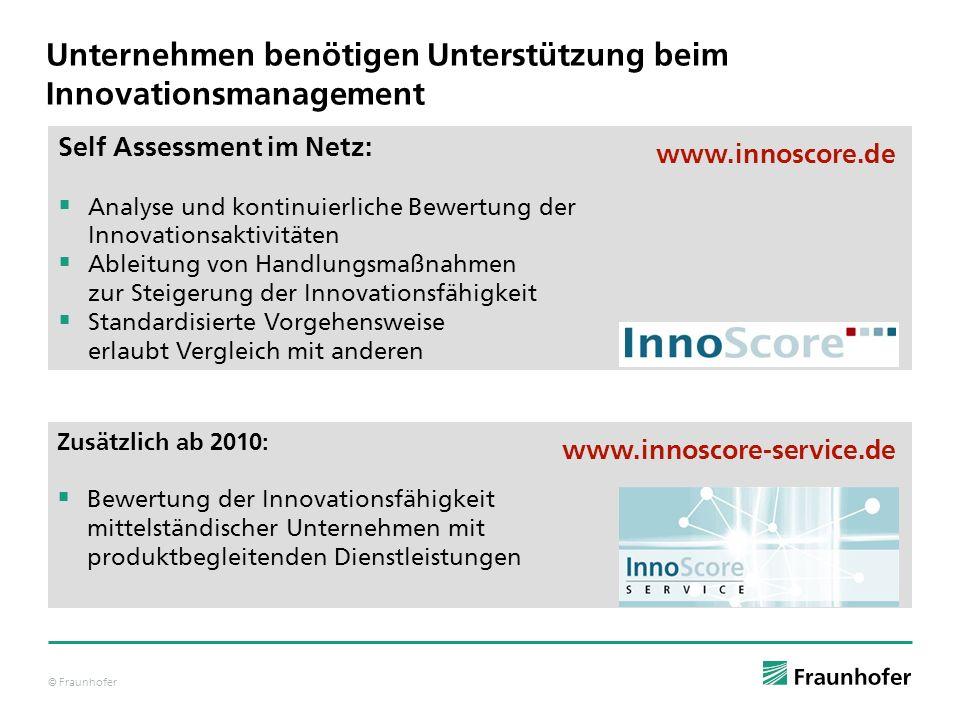 © Fraunhofer Unternehmen benötigen Unterstützung beim Innovationsmanagement Self Assessment im Netz: Analyse und kontinuierliche Bewertung der Innovat