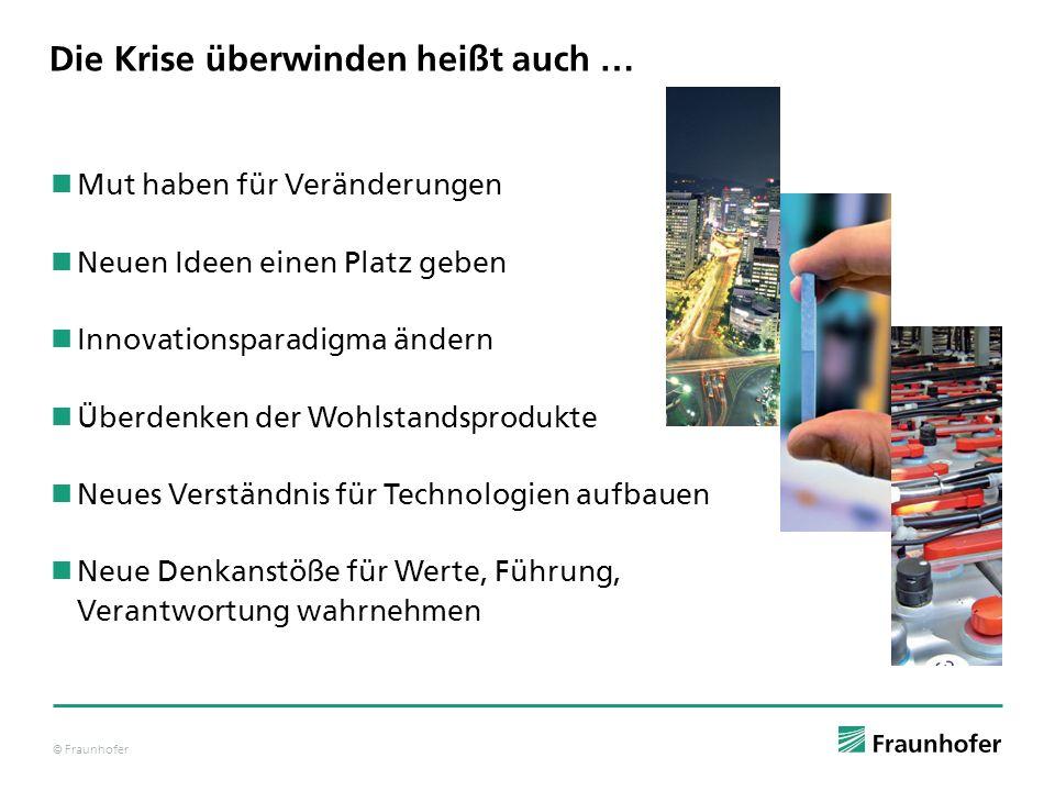 © Fraunhofer Die Krise überwinden heißt auch … Mut haben für Veränderungen Neuen Ideen einen Platz geben Innovationsparadigma ändern Überdenken der Wo