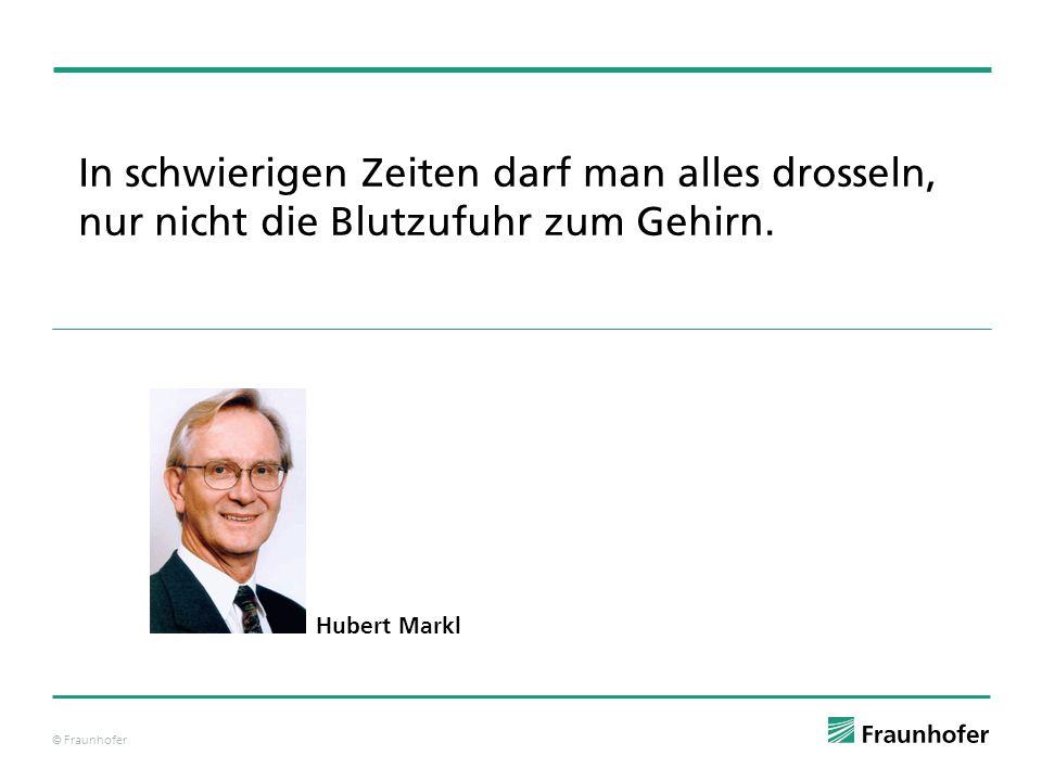 © Fraunhofer In schwierigen Zeiten darf man alles drosseln, nur nicht die Blutzufuhr zum Gehirn. Hubert Markl