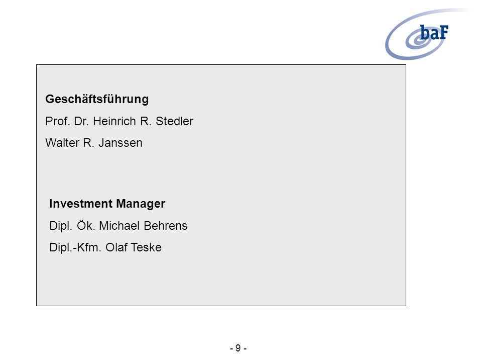 Geschäftsführung Prof. Dr. Heinrich R. Stedler Walter R. Janssen Investment Manager Dipl. Ök. Michael Behrens Dipl.-Kfm. Olaf Teske - 9 -