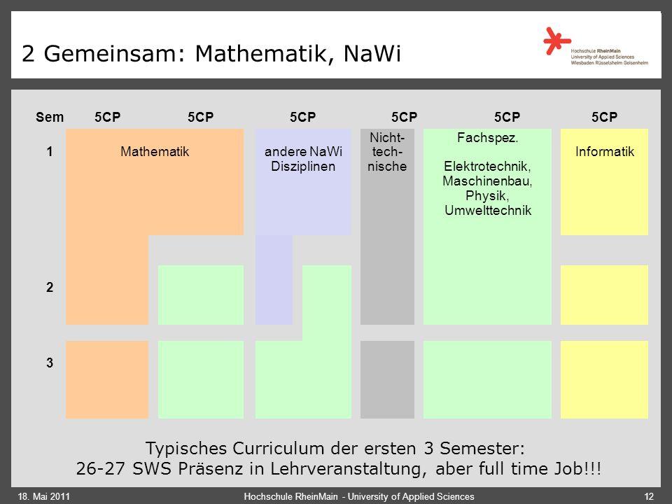 18. Mai 2011 2 Gemeinsam: Hohe Praxisorientierung Laborpraktika Praxissemester Projekte BA Arbeit Hochschule RheinMain - University of Applied Science