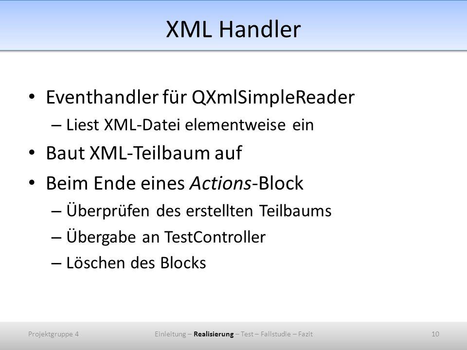 XML Handler Eventhandler für QXmlSimpleReader – Liest XML-Datei elementweise ein Baut XML-Teilbaum auf Beim Ende eines Actions-Block – Überprüfen des erstellten Teilbaums – Übergabe an TestController – Löschen des Blocks Projektgruppe 410Einleitung – Realisierung – Test – Fallstudie – Fazit