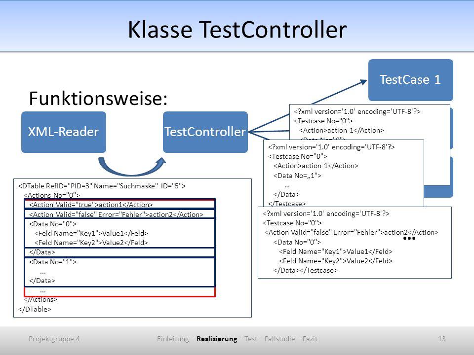 Klasse TestController Funktionsweise: XML-ReaderTestControllerTestCase 1TestCase 2TestCase 3 action1 action2 Value1 Value2...... action 1 Value1 Value