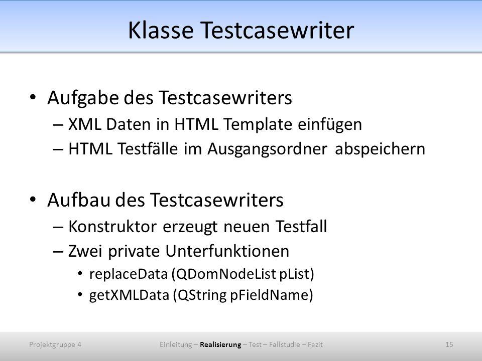 Klasse Testcasewriter Aufgabe des Testcasewriters – XML Daten in HTML Template einfügen – HTML Testfälle im Ausgangsordner abspeichern Aufbau des Testcasewriters – Konstruktor erzeugt neuen Testfall – Zwei private Unterfunktionen replaceData (QDomNodeList pList) getXMLData (QString pFieldName) Projektgruppe 415Einleitung – Realisierung – Test – Fallstudie – Fazit