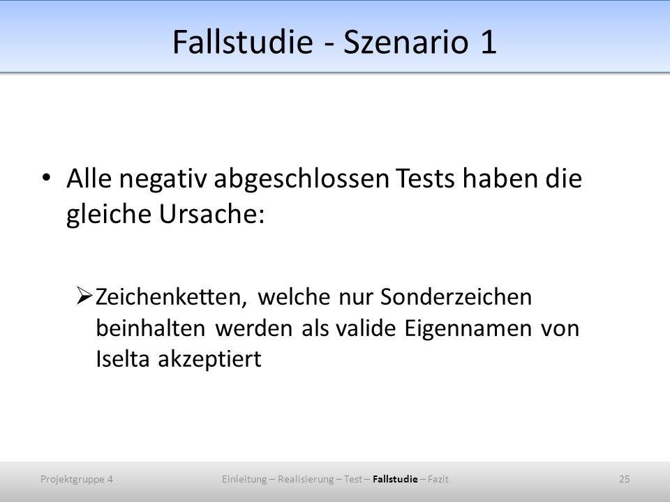 Fallstudie - Szenario 1 Alle negativ abgeschlossen Tests haben die gleiche Ursache: Zeichenketten, welche nur Sonderzeichen beinhalten werden als valide Eigennamen von Iselta akzeptiert Projektgruppe 425Einleitung – Realisierung – Test – Fallstudie – Fazit