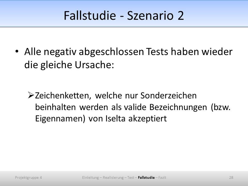 Fallstudie - Szenario 2 Alle negativ abgeschlossen Tests haben wieder die gleiche Ursache: Zeichenketten, welche nur Sonderzeichen beinhalten werden a