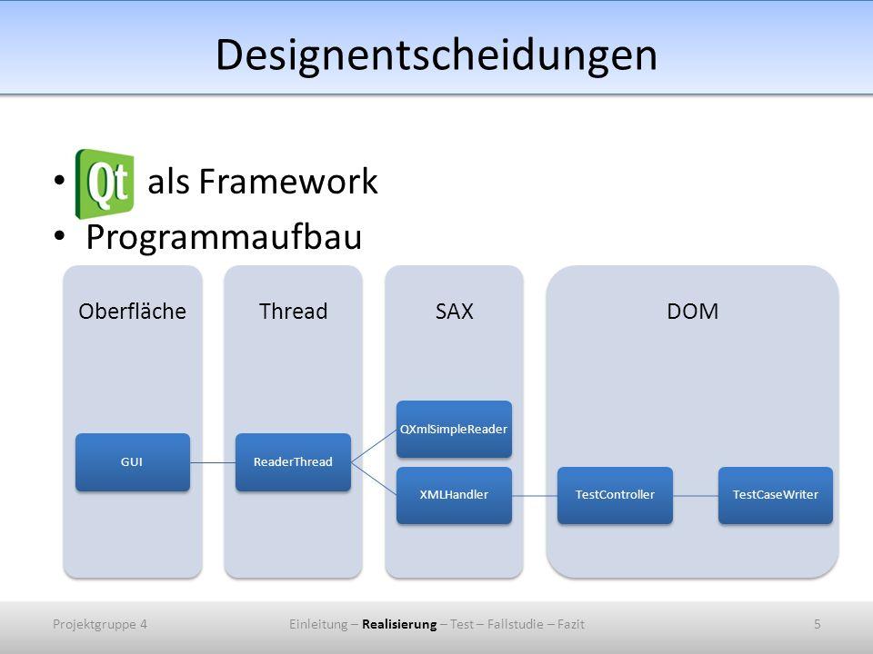 Designentscheidungen als Framework Programmaufbau DOM SAX Thread Oberfläche GUI ReaderThread QXmlSimpleReader XMLHandler TestController TestCaseWriter