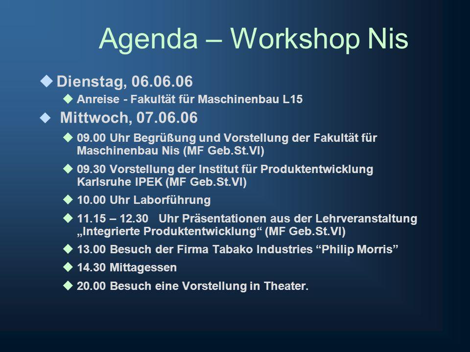 Agenda – Workshop Nis Donnerstag, 08.06.06 09.00 Uhr Vorstellung von Studiumsprogramme den Partnerhochschulen (Novi Sad, Belgrade, Nis, Skopje, Sarajevo, Tirana) (MF Geb.