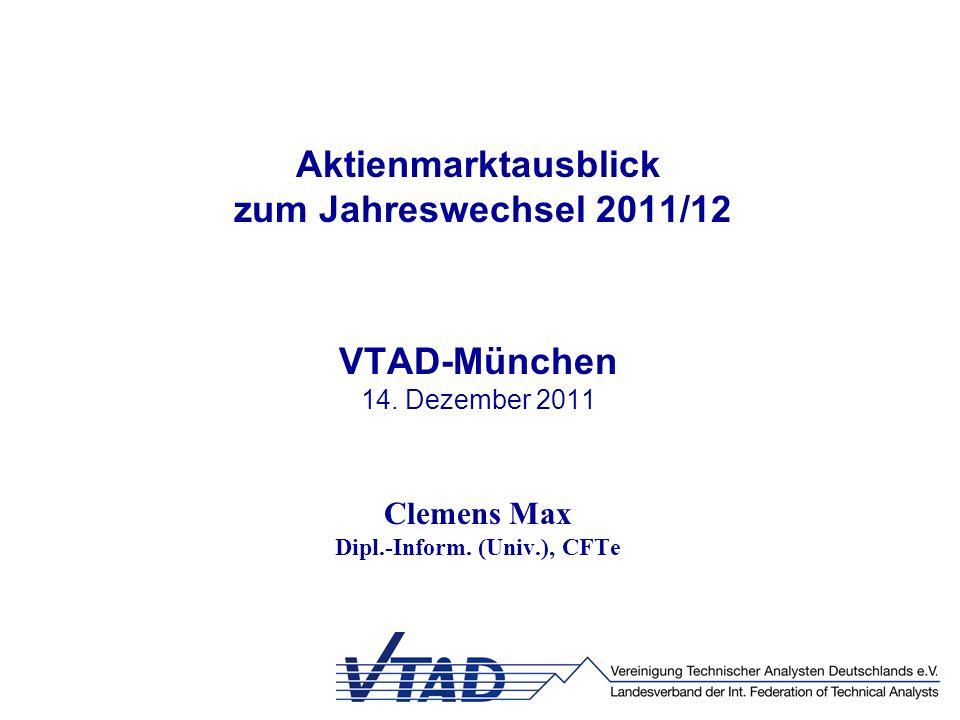 Aktienmarktausblick zum Jahreswechsel 2011/12 VTAD-München 14. Dezember 2011 Clemens Max Dipl.-Inform. (Univ.), CFTe